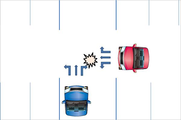 駐車場内交差点での接触