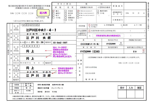 軽自動車税申告書兼標識交付申請書